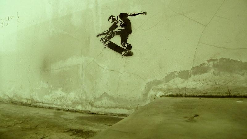 stencil skateboarder Get Your Hands Dirty: Poster Requires Ink To Reveal Message