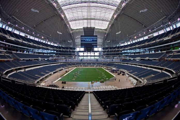 new cowboys stadium inside wide angle fisheye What Costs $1.3 Billion, Holds 111,000 people and Has the Worlds Biggest TV?