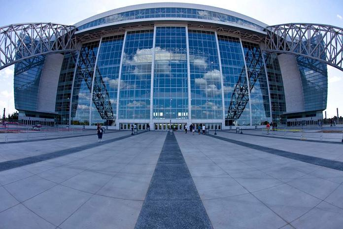 new dallas cowboys stadium entrance fisheye What Costs $1.3 Billion, Holds 111,000 people and Has the Worlds Biggest TV?