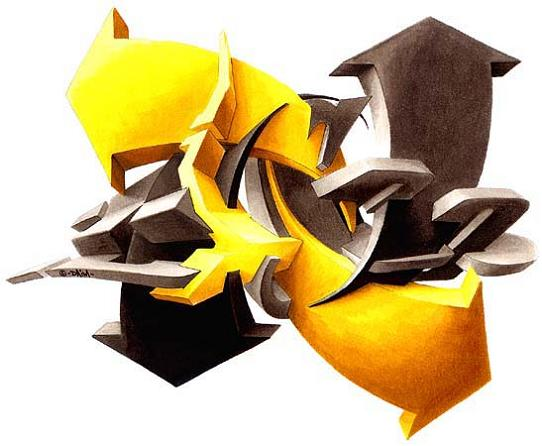 daim graf sketch paper 3D INSANITY With Only Four Letters