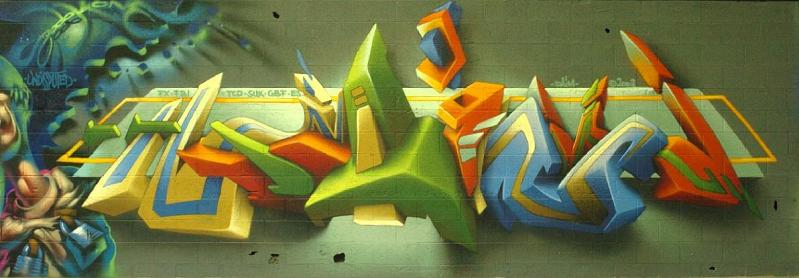 daim graffiti art mural 3D INSANITY With Only Four Letters