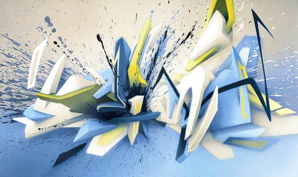 daim graffiti lettering 3D INSANITY With Only Four Letters