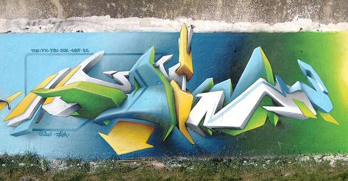 daim graffiti 3D INSANITY With Only Four Letters