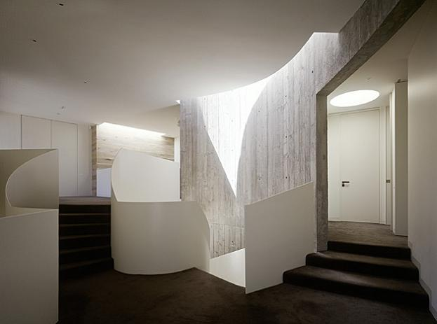 top spiral staircase The Yarra House: Interior Design Inspiration