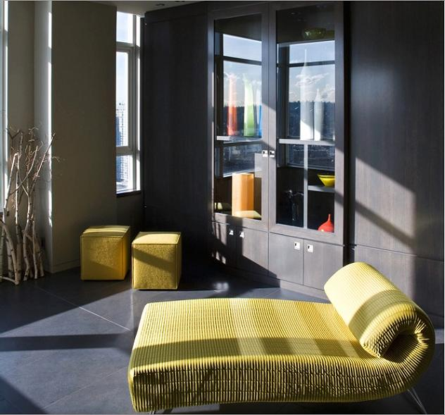 beautiful chaisse lounge The $10 Million Aquarius Penthouse Feels Like a Nightclub