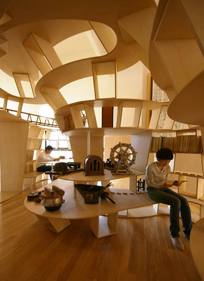 wooden bookshelf fort space within a space Yamakoya: The Japanese Bookshelf Cabin
