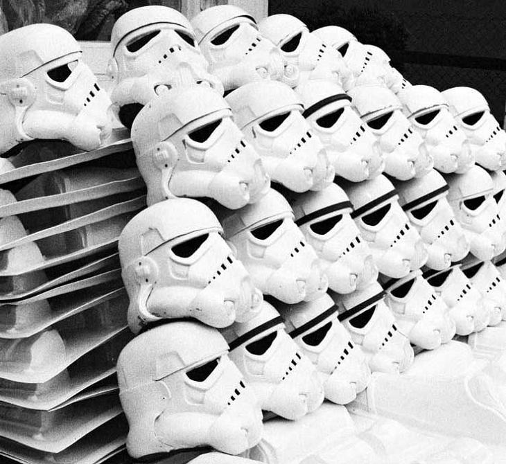 lots of stormtrooper helmets piled side by side Stormtrooper Inspired Art and Design