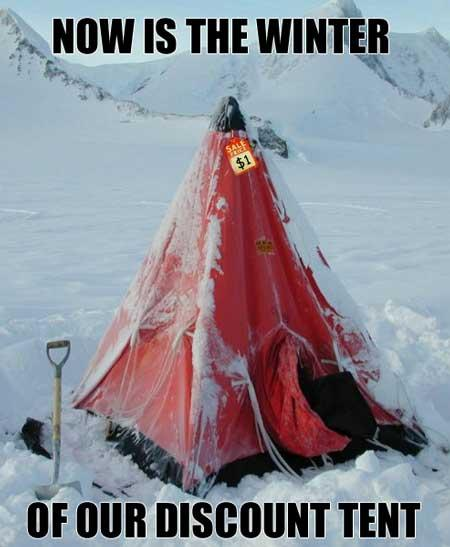 now is the winter of our discount tent Picture of the Day   December 12, 2009