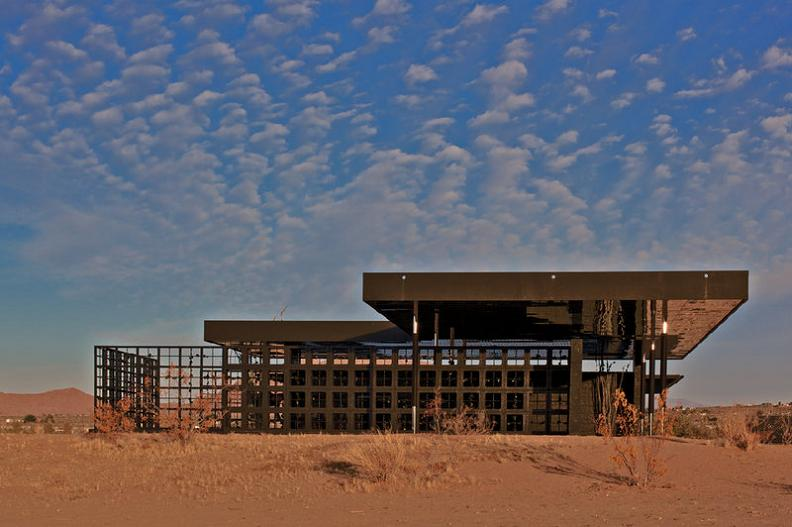 robert stone all black house design rosa muerta What Happens When a Punk Rocker Designs a Desert Home?