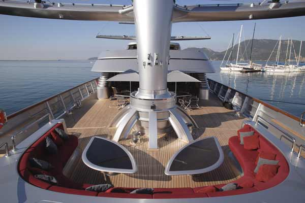 beautiful outer deck boat mega yacht Maltese Falcon: Third Largest Sailing Yacht in the World