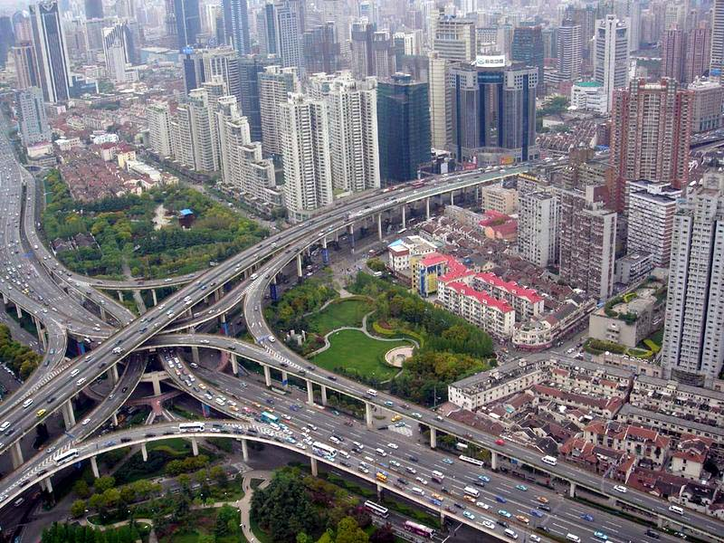 crazy road highway the viaduct in puxi shanghai Picture of the Day   January 31, 2010