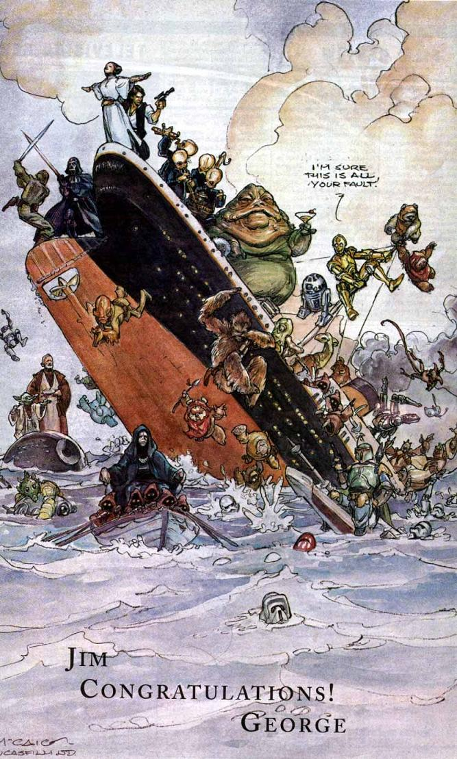 drawing of star wars on titanic george lucas to james cameron Picture of the Day   January 27, 2010