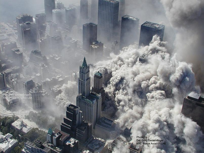 aerial photograph of sept 9-11 from above twin towers