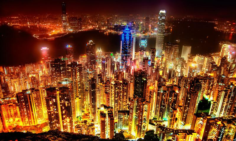 hong kong skyline at night Picture of the Day   February 7, 2010