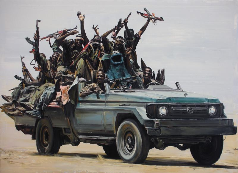 cookie monster in truck full of african soldiers rebels Picture of the Day   March 22, 2010
