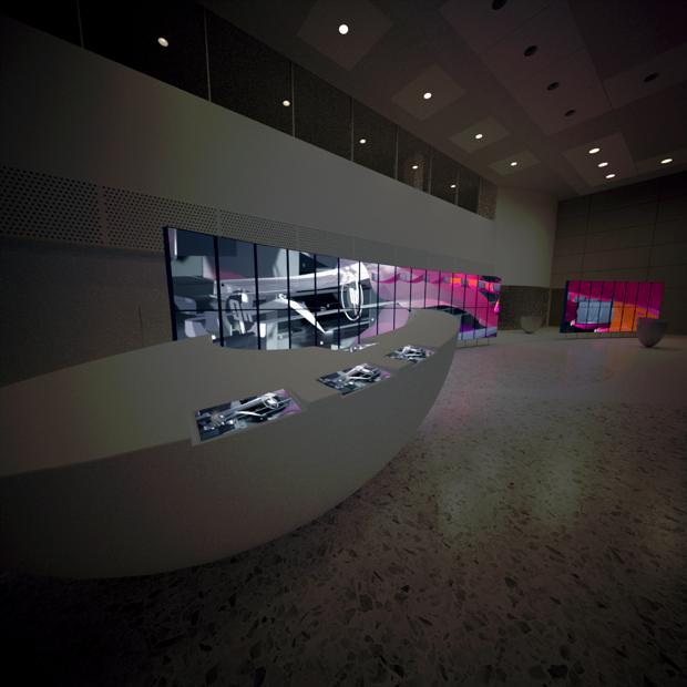 hp manifold by tronic moving flat screen panels Living Lobby Art: The HP Manilfold by Tronic