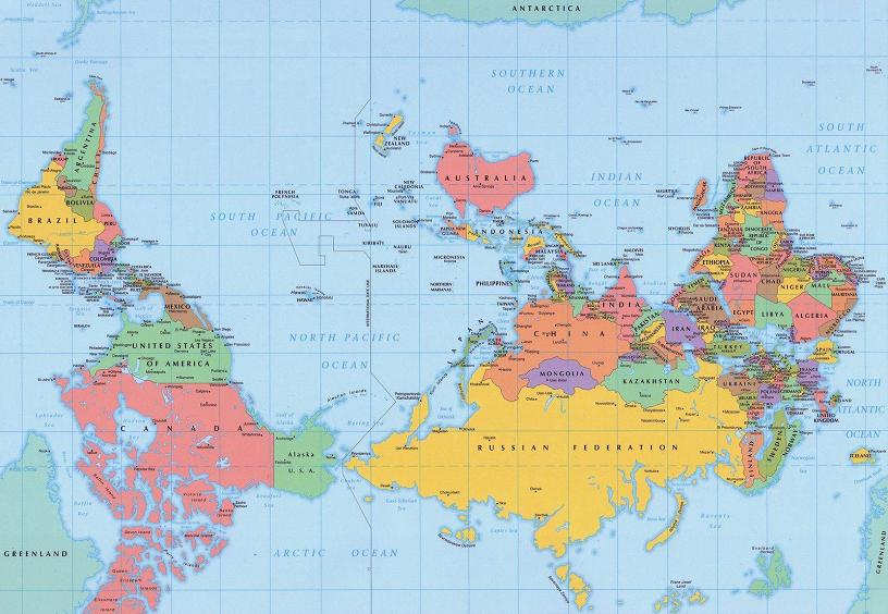 upside down world map from southern hemisphere Picture of the Day   March 7, 2010