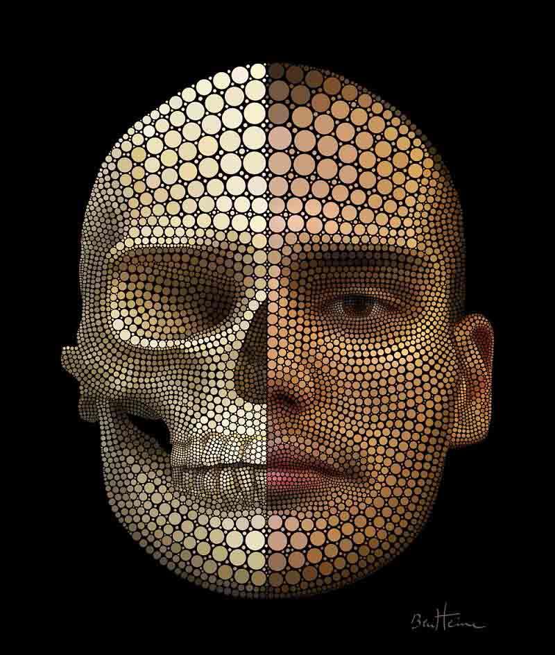 ben heine self portrait digital circlism Art Made Entirely of Circles by Ben Heine