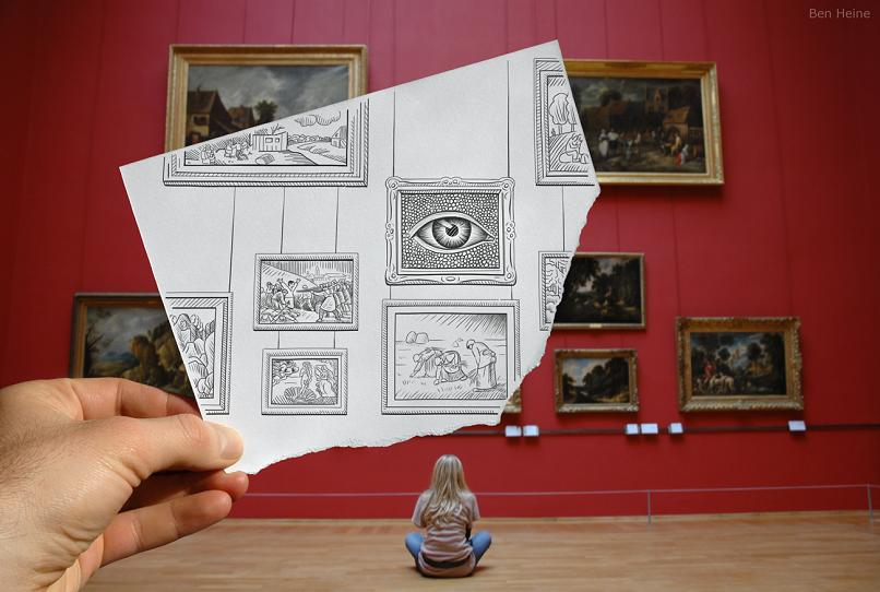 draw on paper over picture by ben heine Art Made Entirely of Circles by Ben Heine