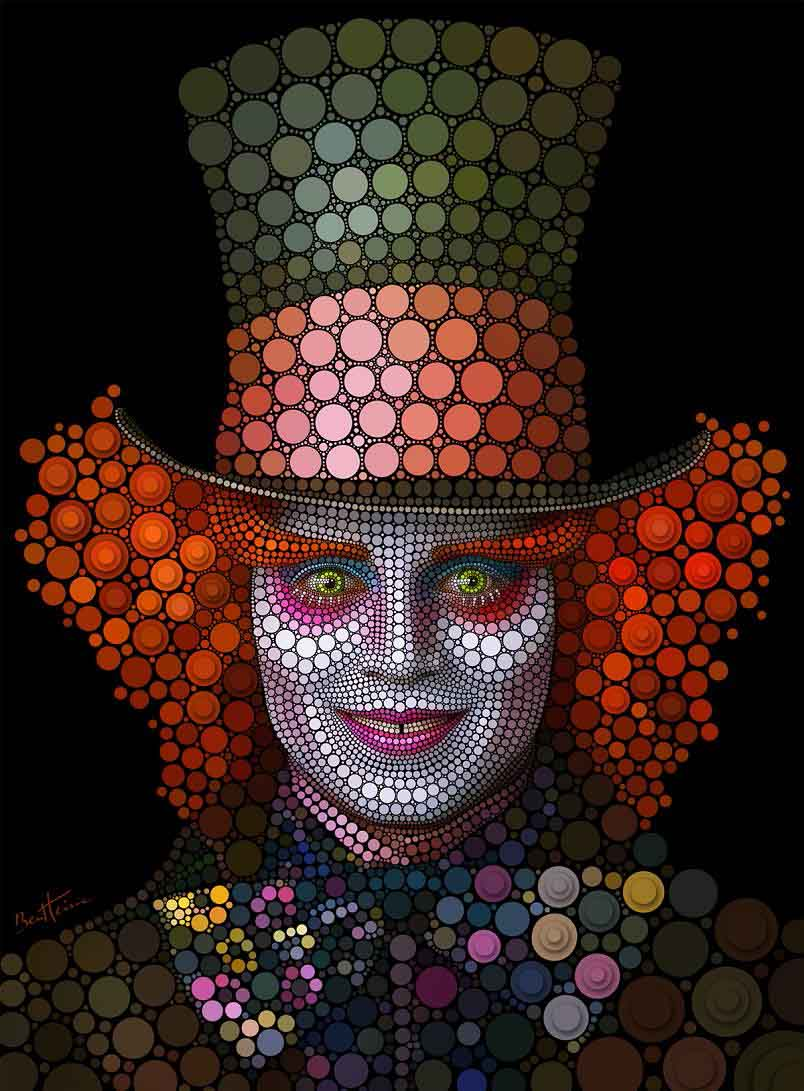 johnny depp digital art with circles Art Made Entirely of Circles by Ben Heine
