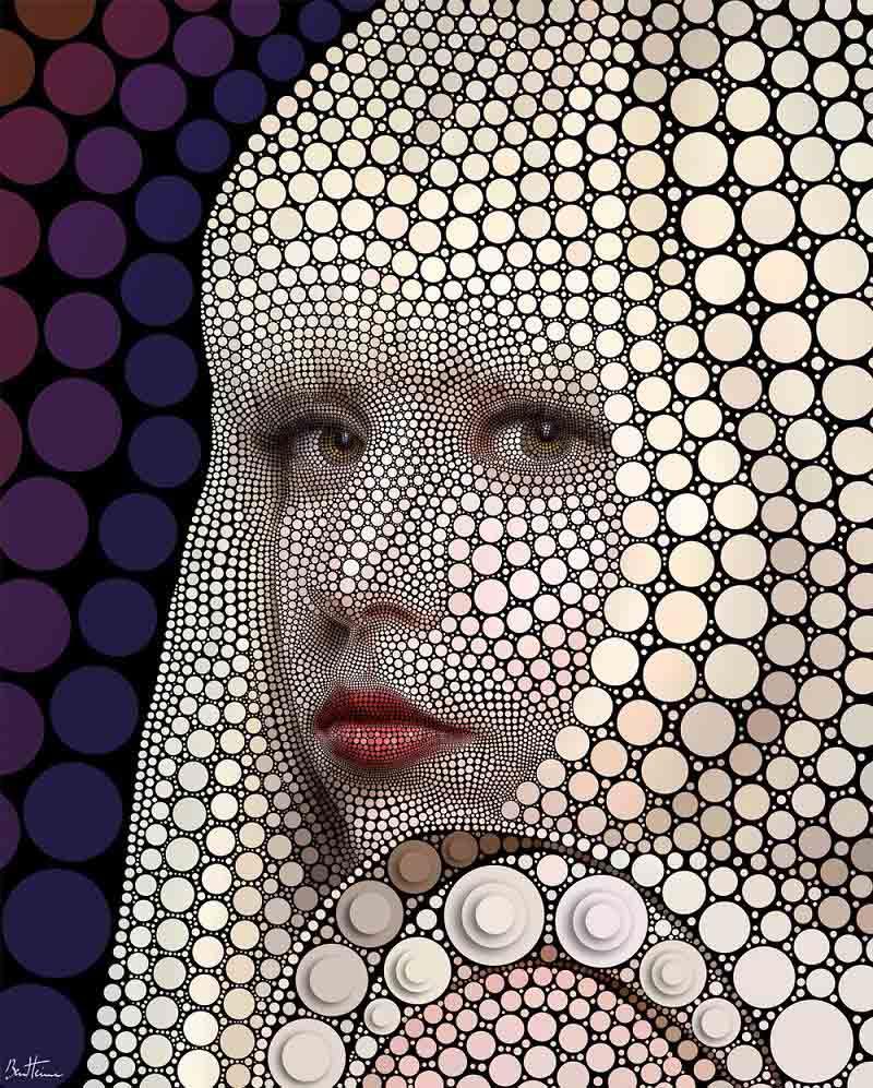 lady gaga art circles by ben heine Art Made Entirely of Circles by Ben Heine