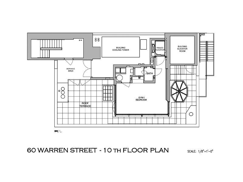 mansion in tribeca nyc penthouse floorplan A Townhouse in the Sky