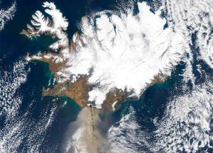 satellite of ash plume from volcano in iceland spreading to europe satellite of ash plume from volcano in iceland spreading to europe