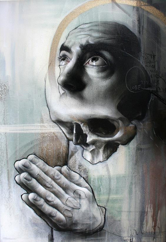 skull and face morph praying best ever Awesome Street Art by Best Ever