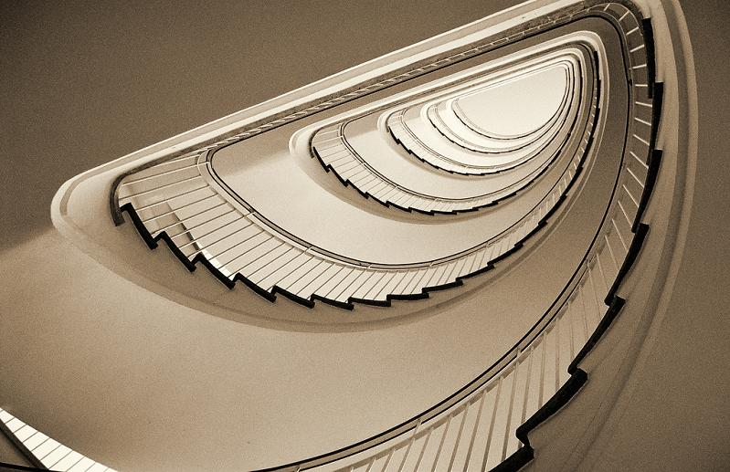spiral staircase from bottom looking up 25 Stunning Images of Spiral Staircases