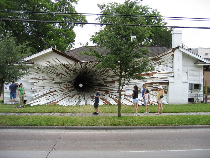 tunnel going through exploding house Picture of the Day   April 17, 2010