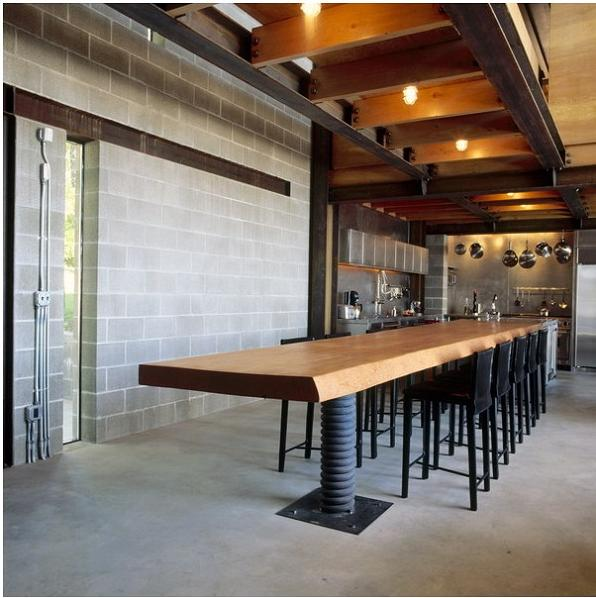 beautiful dining table with truck suspension spring Industrial Chic   Modern Cabin with Giant Window for a Wall