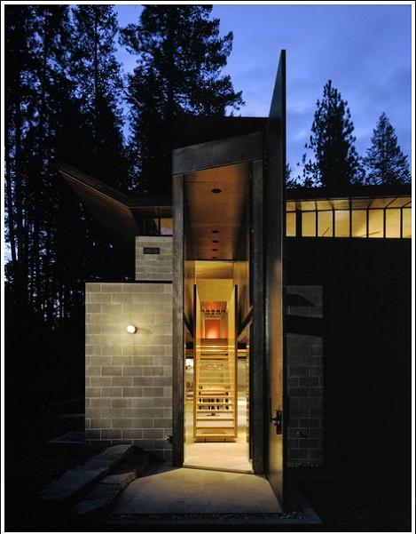 beautiful modern cabin design Industrial Chic   Modern Cabin with Giant Window for a Wall
