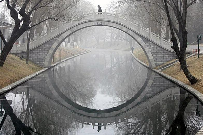 bridge reflection in water makes complete circle Picture of the Day   May 6, 2010