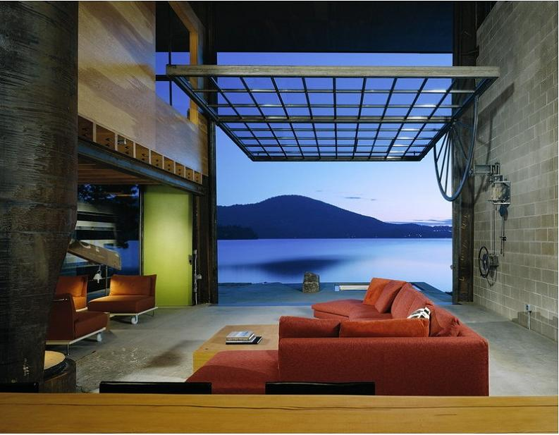 cabin with giant window for a wall chicken point Industrial Chic   Modern Cabin with Giant Window for a Wall