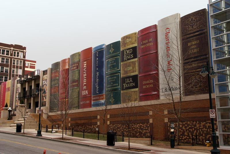 library parking lot covered in big books Picture of the Day   Books for Giants
