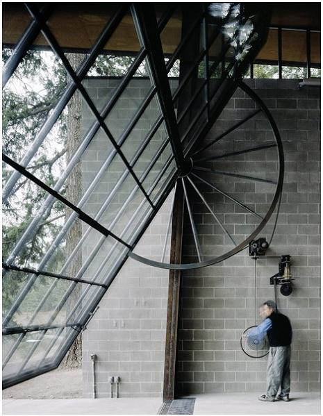 massive window for a wall pulleys Industrial Chic   Modern Cabin with Giant Window for a Wall