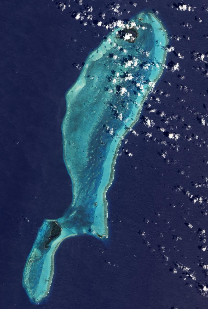 satelite photo of the giant blue hole The Great Blue Hole in Belize