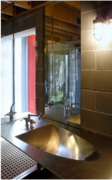stainless steel bathroom sink Industrial Chic   Modern Cabin with Giant Window for a Wall