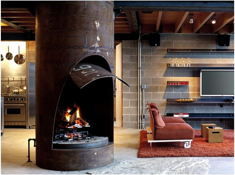 steel pipe fireplace Industrial Chic   Modern Cabin with Giant Window for a Wall