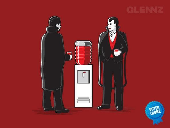 blood water cooler vampires 25 Hilarious Illustrations by Glennz