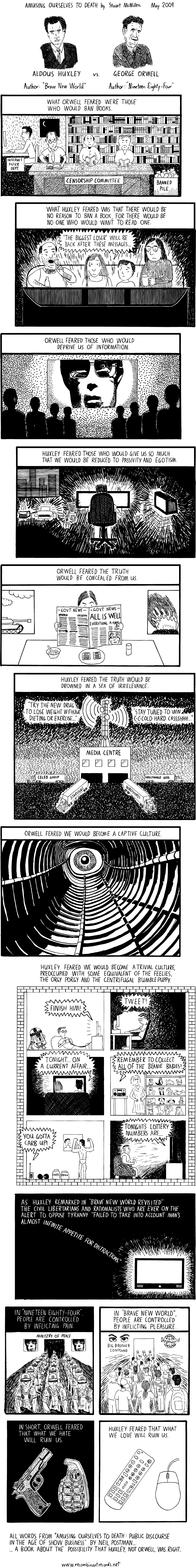 george orwell vs aldous huxley brave new world vs 1984 comic Amusing Ourselves to Death [Comic Strip]