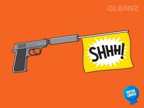 gun with silencer 25 Hilarious Illustrations by Glennz