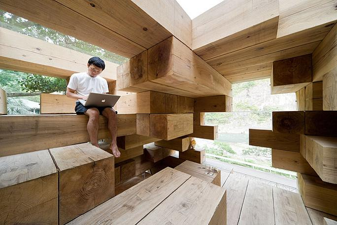 house made of wooden blocks Remember Jenga? This is the House Version of It