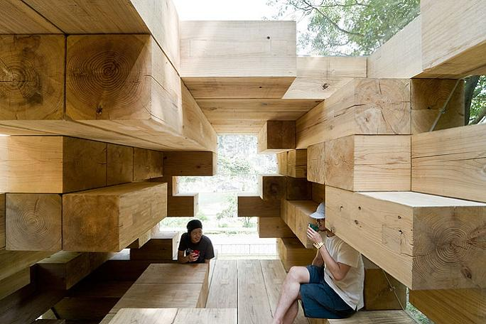 japanese structure of only wooden beams Remember Jenga? This is the House Version of It