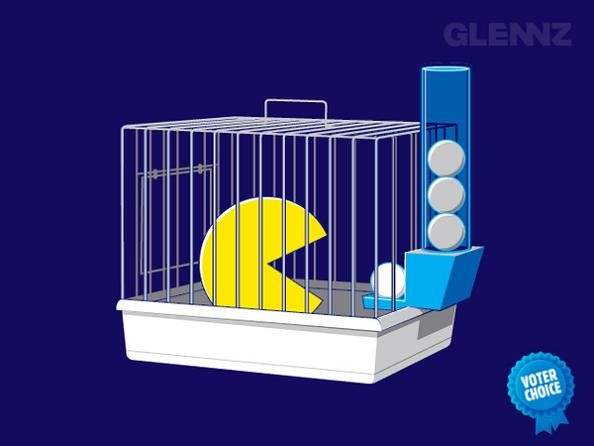 pacman in cage funny 25 Hilarious Illustrations by Glennz