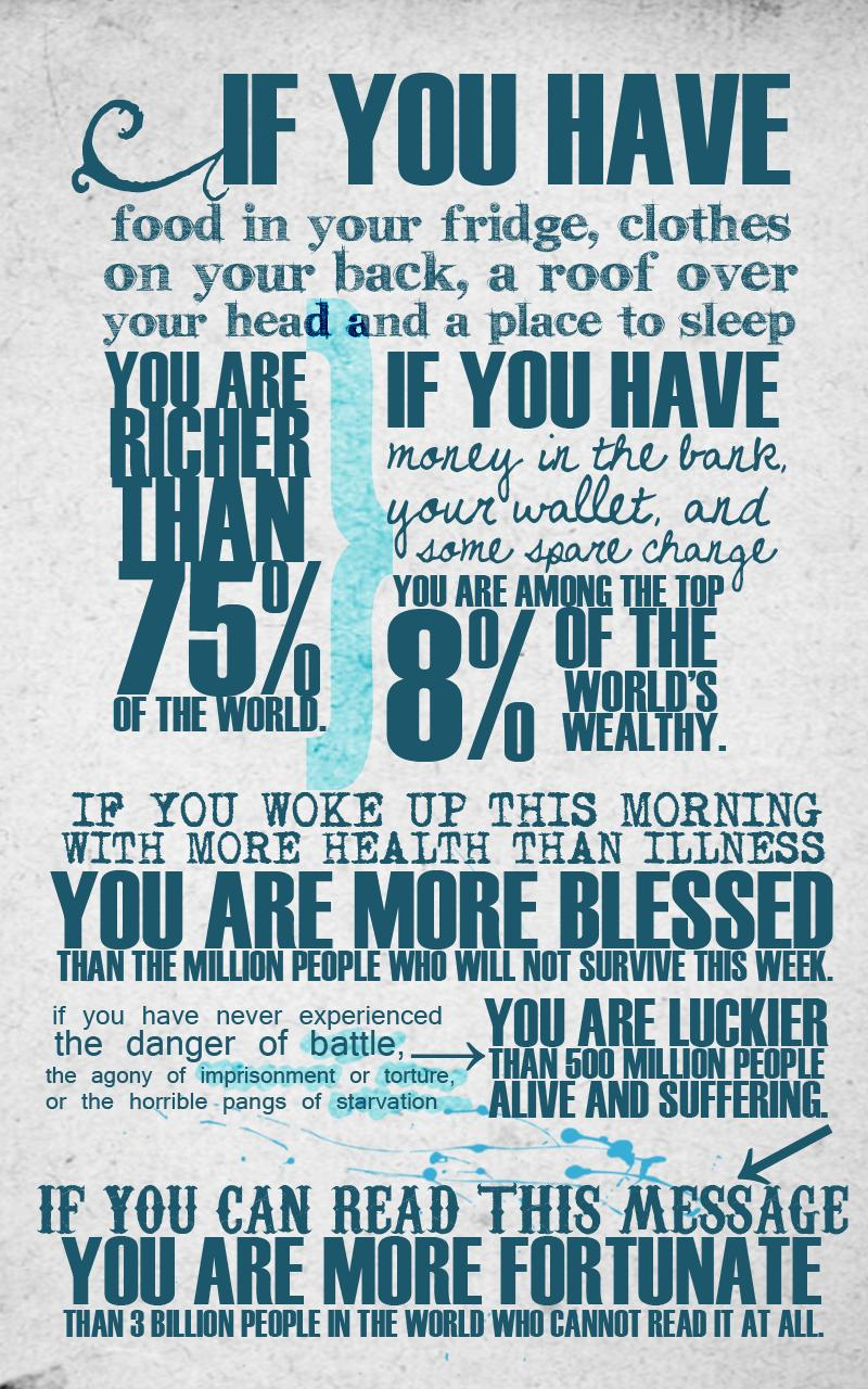 you are lucky fortunate inforgraphic reminder1 Picture of the Day   Note to Self