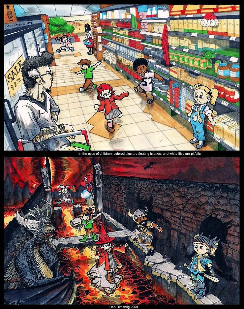 kids playing on tiles in supermarket comic Imagination [Comic Strip]