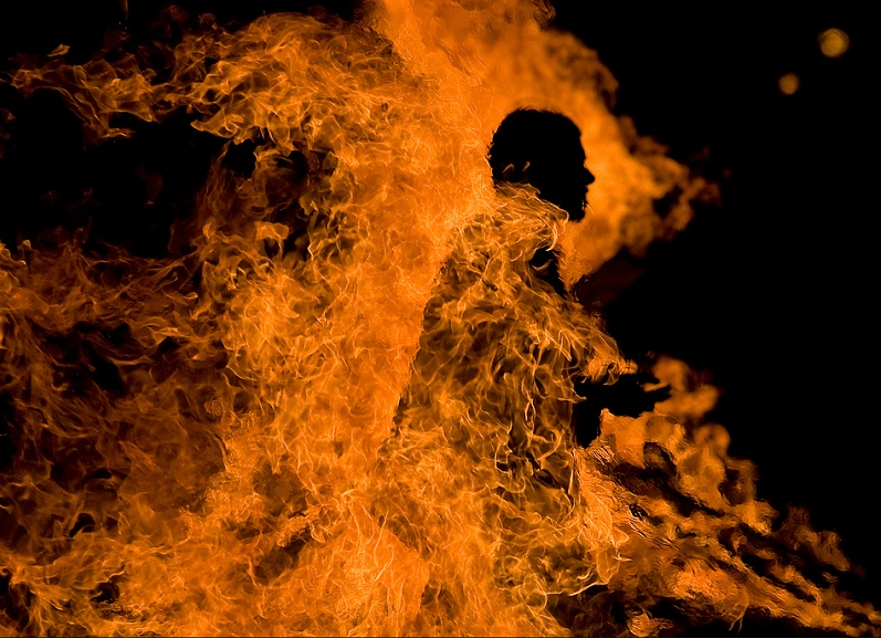 man on fire burning Picture of the Day   Suffering is Optional