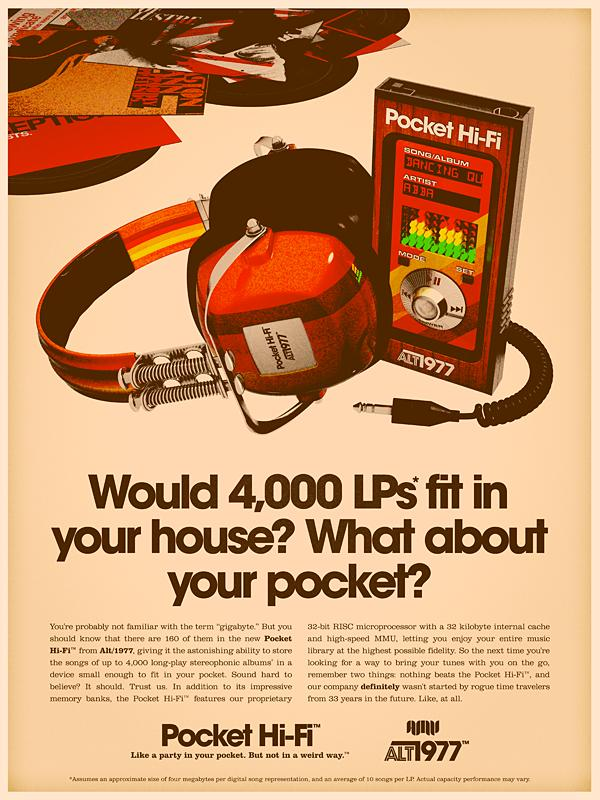 retro ad for ipod in the 70s style Back to the Future: Retro 70s Ads for Todays Gadgets