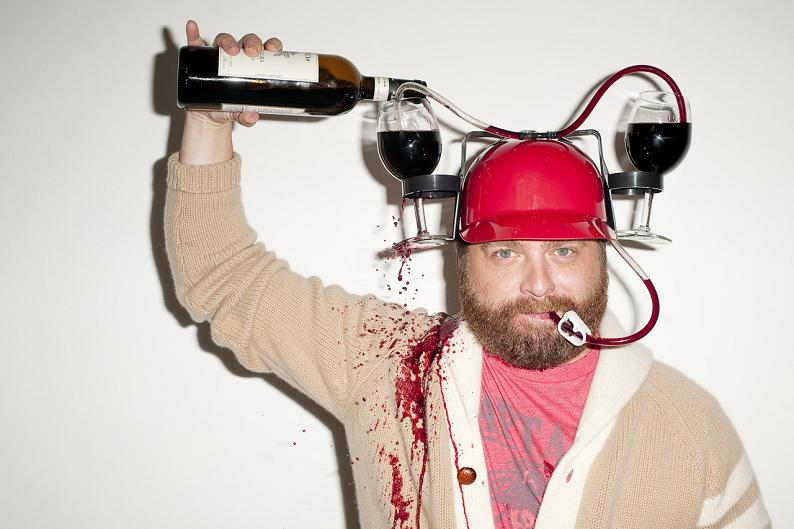 zach galifianakis wine helmet drunk Picture of the Day   July 24, 2010